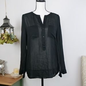 Lucky Brand Popover Button Front Blouse Top Small